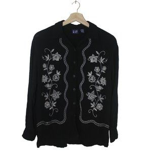 Vintage GAP Embroidered Floral Blouse